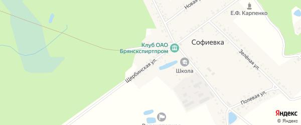 Щербинская улица на карте поселка Софиевки с номерами домов