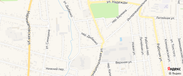 Переулок Дыбенко на карте Новозыбкова с номерами домов
