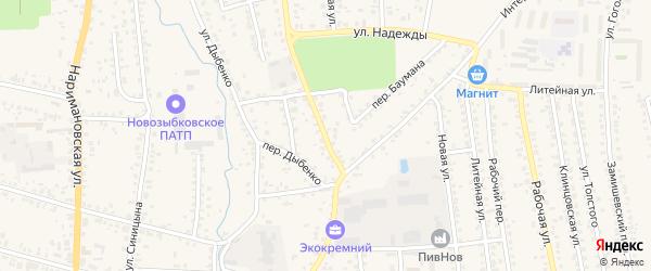 Интернациональный переулок на карте Новозыбкова с номерами домов