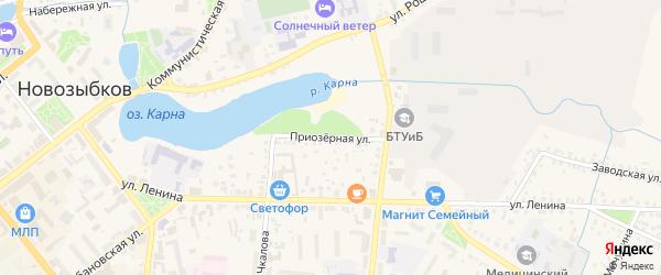 Приозерная улица на карте Новозыбкова с номерами домов