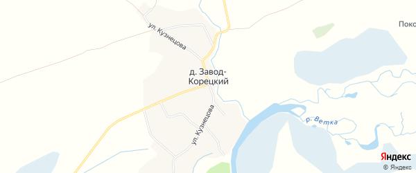 Карта деревни Завода-Корецкого в Брянской области с улицами и номерами домов