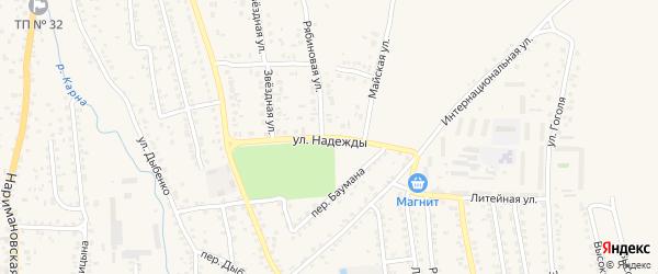 Улица Надежды на карте Новозыбкова с номерами домов