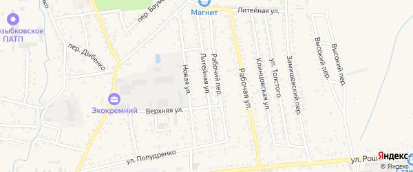 Литейная улица на карте Новозыбкова с номерами домов