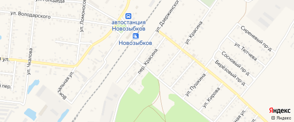 Переулок Красина на карте Новозыбкова с номерами домов