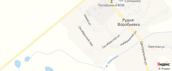 Октябрьский переулок на карте деревни Рудни-Воробьевки с номерами домов