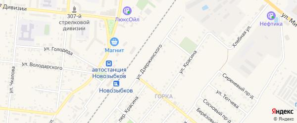 Улица Дзержинского на карте Новозыбкова с номерами домов