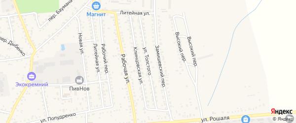 Улица Толстого на карте Новозыбкова с номерами домов