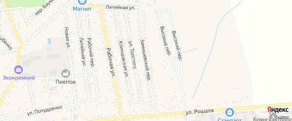Замишевский переулок на карте Новозыбкова с номерами домов