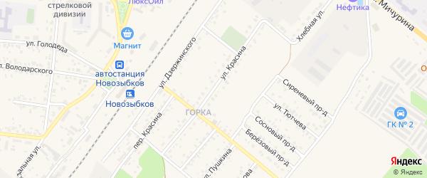 Улица Красина на карте Новозыбкова с номерами домов