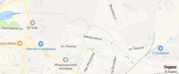 Заводская улица на карте Новозыбкова с номерами домов