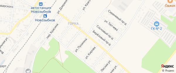 Железнодорожная улица на карте Новозыбкова с номерами домов