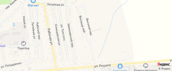 Высокий переулок на карте Новозыбкова с номерами домов
