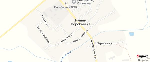 Октябрьская улица на карте деревни Рудни-Воробьевки с номерами домов