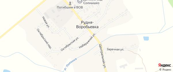 Северная улица на карте деревни Рудни-Воробьевки с номерами домов