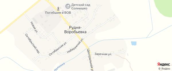 Набережная улица на карте деревни Рудни-Воробьевки с номерами домов