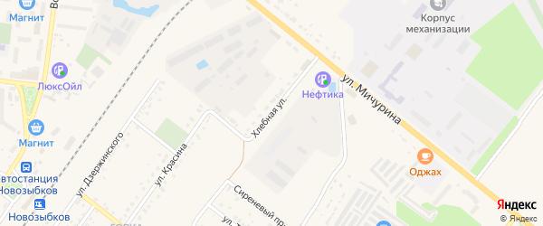 Хлебная улица на карте Новозыбкова с номерами домов