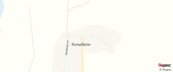 Зеленая улица на карте деревни Колыбели с номерами домов