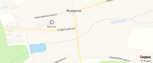 Центральная улица на карте села Фоевичи с номерами домов