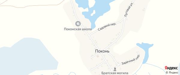 Красноармейская улица на карте деревни Поконь с номерами домов