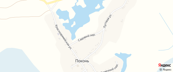Садовый переулок на карте деревни Поконь с номерами домов