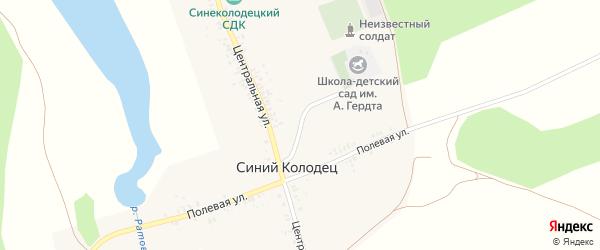 Центральный переулок на карте села Синего Колодца с номерами домов