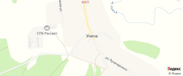 Молодежная улица на карте деревни Унечи с номерами домов
