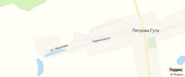 Улица Жданова на карте деревни Петровой-Гуты с номерами домов