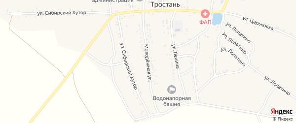 Молодежная улица на карте деревни Тростани с номерами домов