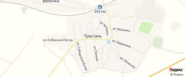 Карта деревни Тростани в Брянской области с улицами и номерами домов