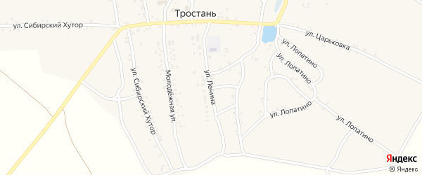 Улица Ленина на карте деревни Тростани с номерами домов