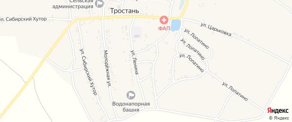 Улица Васильцовка на карте деревни Тростани с номерами домов