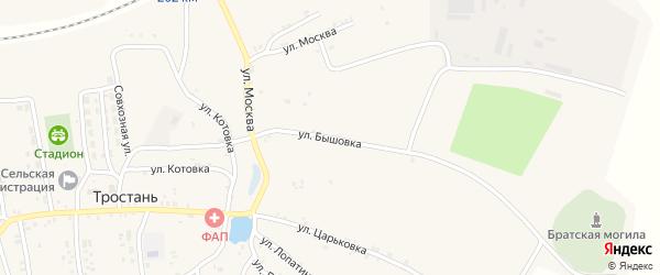 Улица Бышовка на карте деревни Тростани с номерами домов