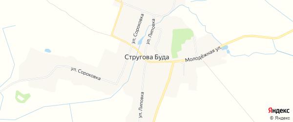 Карта села Струговой Буды в Брянской области с улицами и номерами домов