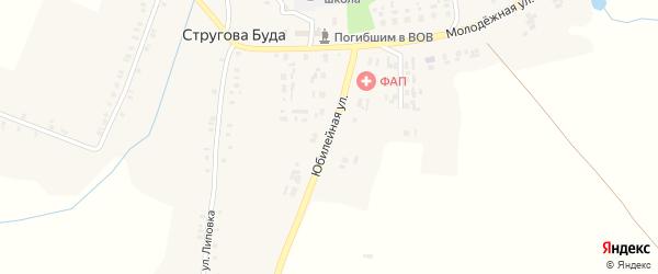 Юбилейная улица на карте села Струговой Буды с номерами домов