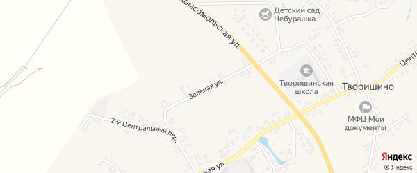 Зеленая улица на карте села Творишино с номерами домов