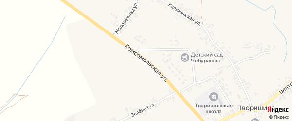 Комсомольская улица на карте села Творишино с номерами домов