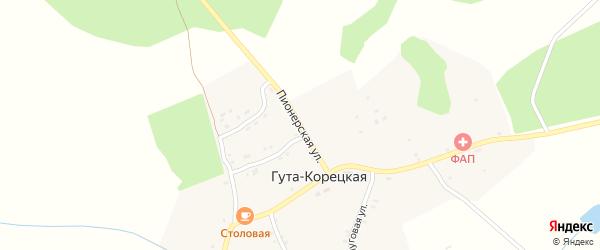 Пионерская улица на карте села Гуты-Корецкой с номерами домов