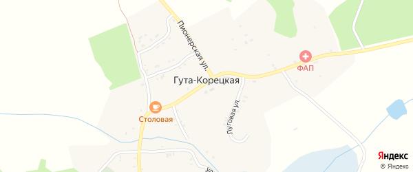 Пионерский переулок на карте села Гуты-Корецкой с номерами домов