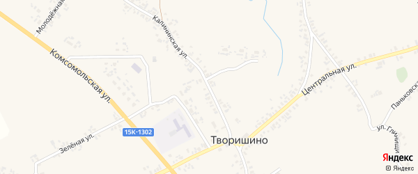 Калининская улица на карте села Творишино с номерами домов
