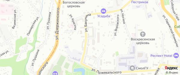 Переулок Бакунина на карте Смоленска с номерами домов