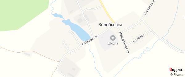 Озерная улица на карте поселка Воробьевки с номерами домов