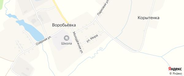 Улица Мира на карте поселка Воробьевки с номерами домов