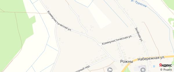 Коммунистическая улица на карте села Рожны с номерами домов