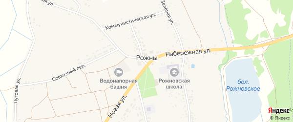Школьный переулок на карте села Рожны с номерами домов