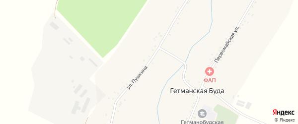 Улица Пушкина на карте села Гетманской Буды с номерами домов
