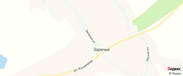 Зеленая улица на карте деревни Заречья с номерами домов