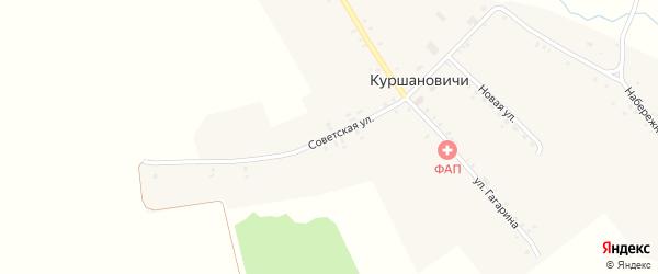 Советская улица на карте села Куршановичей с номерами домов