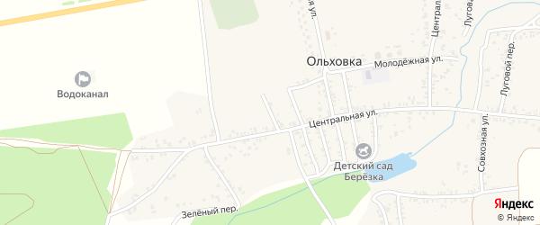 Зеленая улица на карте села Ольховки с номерами домов