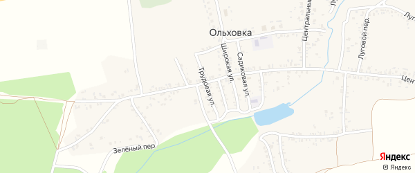 Трудовая улица на карте села Ольховки с номерами домов