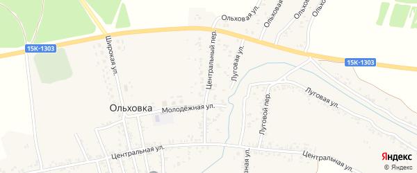 Центральный переулок на карте села Ольховки с номерами домов